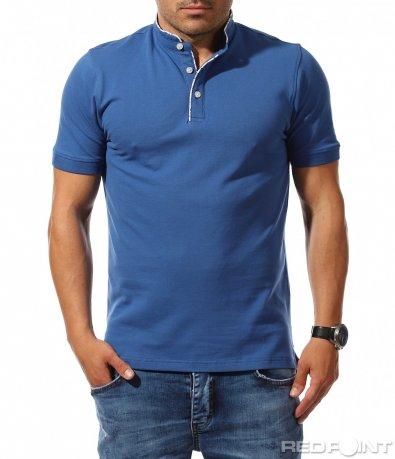 Едноцветна тениска с поло яка 9835