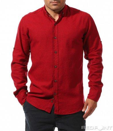 Наситено червена риза от лен 9884