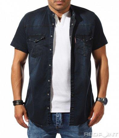 Дънкова риза с къс ръкав 9893