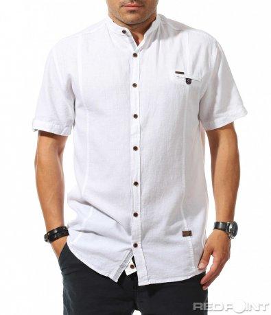 Бяла лятна риза с къс ръкав 9894