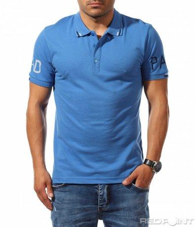 Едноцветна поло тениска с надписи 9905