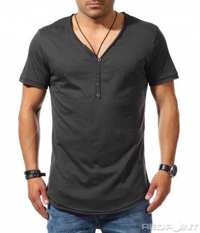 Тениска с дълбоко деколте и копчета 9906