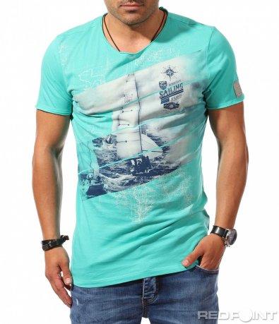 Тюркоазена тениска с мотив 9932