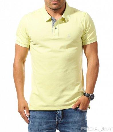 Едноцветна тениска с яка 9934