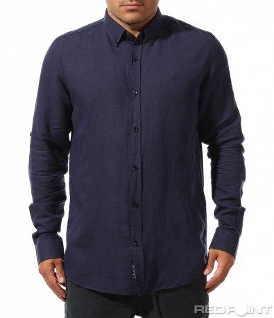 Едноцветна риза от лен 9907