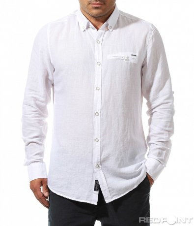 Бяла риза с декоративен джоб 9909