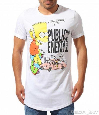 Издължена тениска с щампа 9912