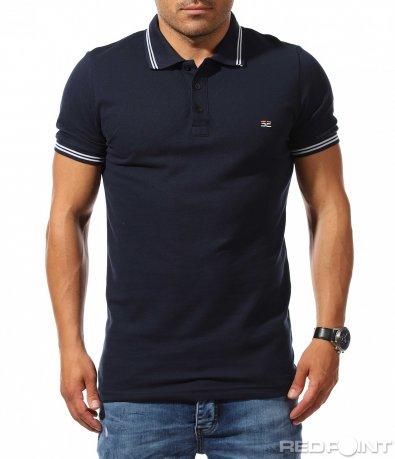 Класна тениска с яка с лого 9918