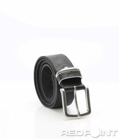 Черен кожен колан с метална тока 9957
