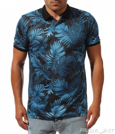 Пъстра тениска с яка 9982