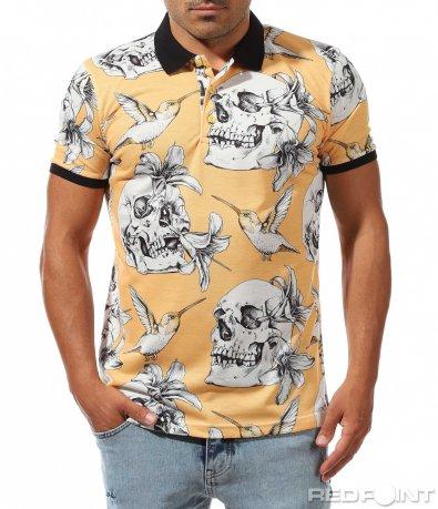 Пъстра тениска с яка 9984