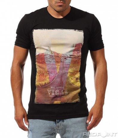 Черен t-shirt с абстрактвен принт 9986
