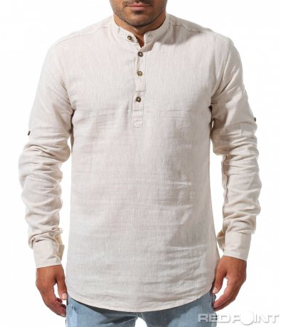 Бежова спортна риза от лен 9989