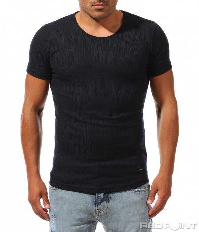 Едноцветна тъмно синя тениска 9992