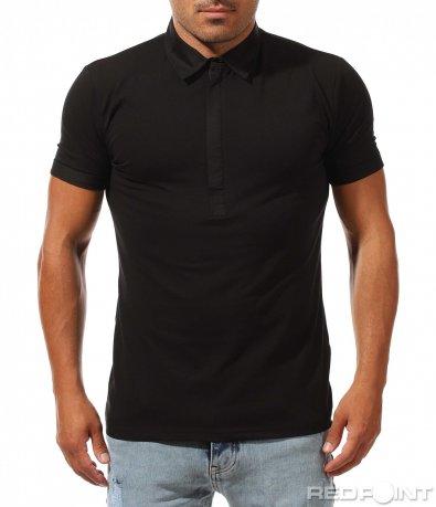 Класическа черна тениска с яка 9994