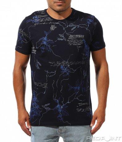 Тъмно синя тениска с преливащ ефект 9996