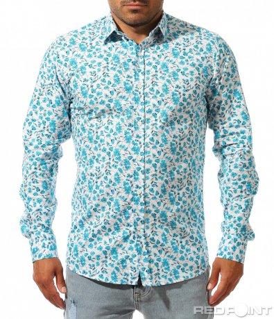Бяла риза с едри сини цветя 9998