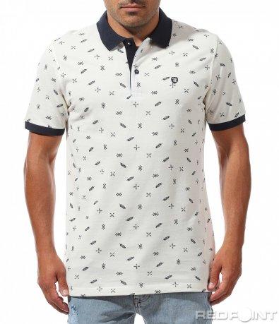 Бяла поло тениска с контраст 10002