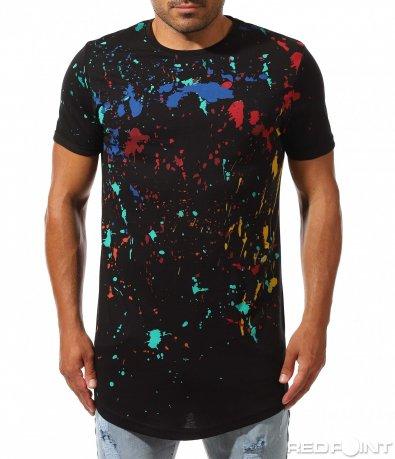 Longfit тениска с цветни пръски 10005