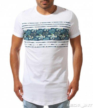 Забележитена тениска с флорален елемент 10006
