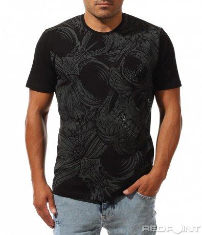 Черна тениска с декоративни камъни 10008