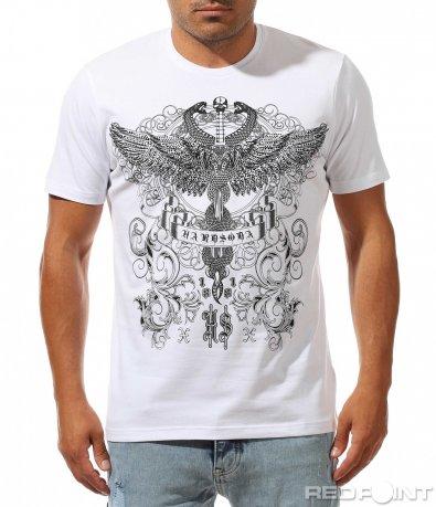 Бял t-shirt с авангардна декорция 10011