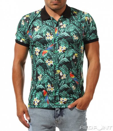 Флорална тениска с яка 10030