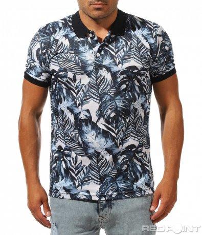 Ефектна поло тениска с принт 10031