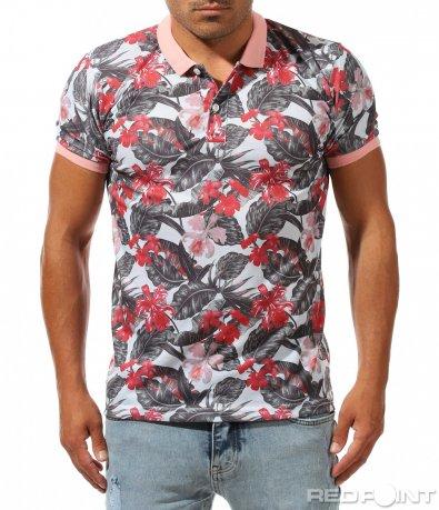Поло тениска с десен на цветя 10036