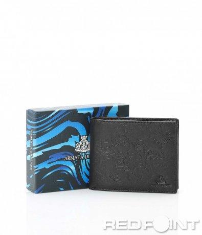 Черен портфейл с гравирани елементи 10095