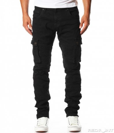 Черен деним карго панталон 10142