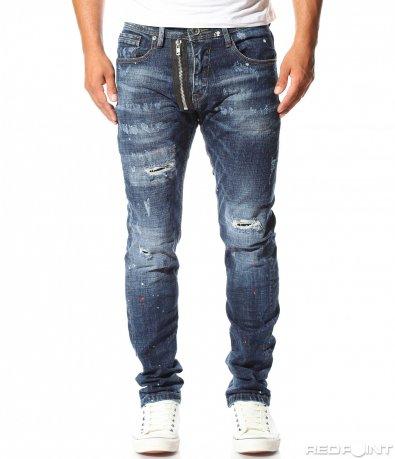 Моден дънков панталон с цип 10153