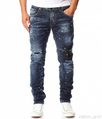 Декорирани сини дънки 10154