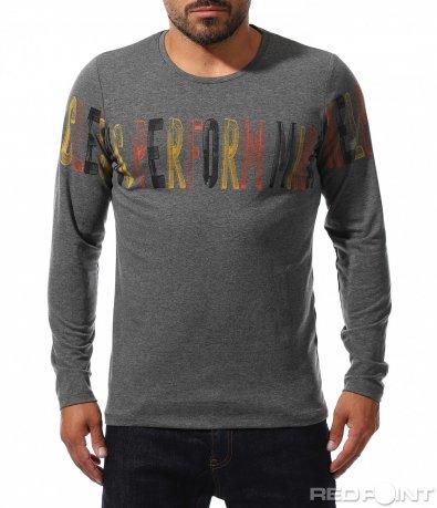 Ежедневна блуза с цветен надпис 10210