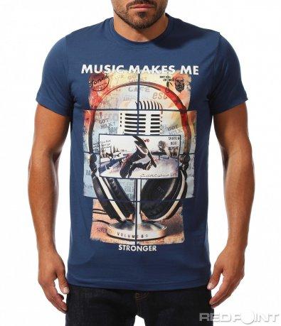 Вталена синя тениска с щампа 10185
