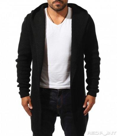Черна жилетка от ситно плетиво 10203