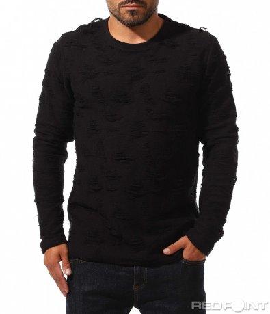 Ексцентричен пуловер с накъсан ефект 10204