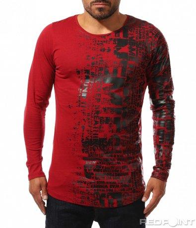Bluză de bumbac alungită cu decor 10224