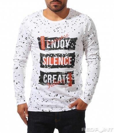 Памучна блуза с ефект и надписи 10232