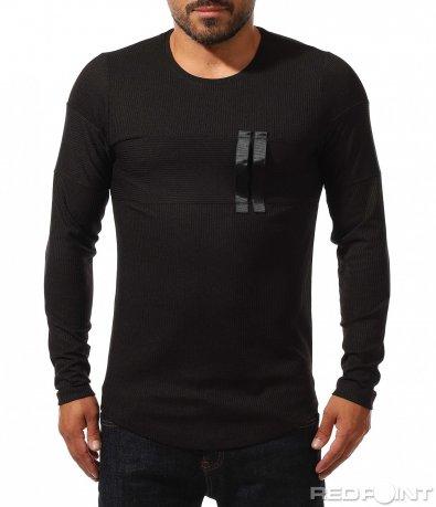 Изчистена блуза с релефен дизайн 10219