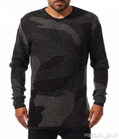Стилен пуловер с камуфлажен акцент 10236