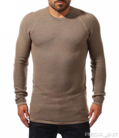 Атрактивен пуловер с наребрен дизайн 10239