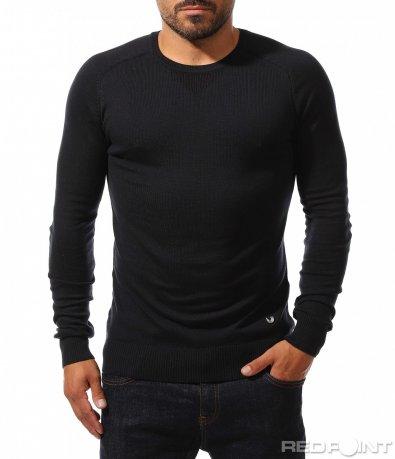 Тъмно син изчистен пуловер 10233