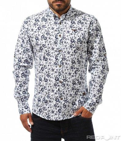 Бяла риза с едри цветя 10273
