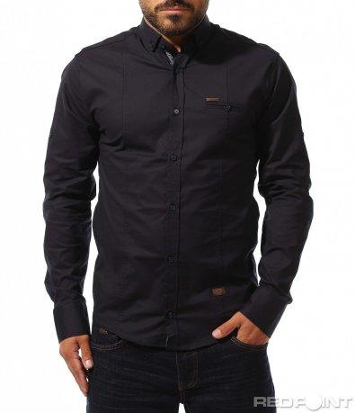 Тъмно синя класическа риза 10280
