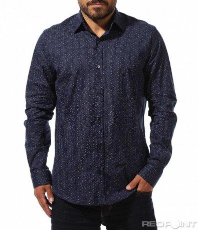 Тъмно синя риза с мотиви 10283