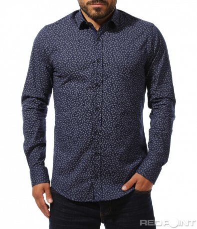 Синя риза с принт 10287