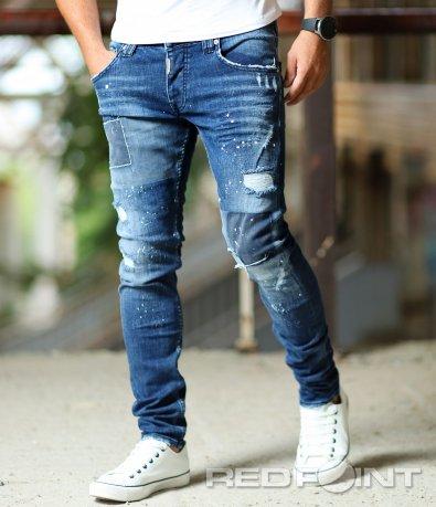Сини дънки с декоративни къпки 10290