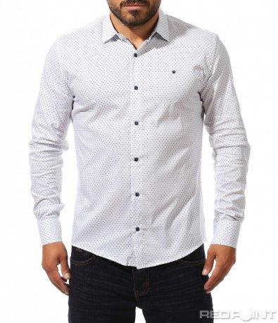 Вталена риза с ефектен дизайн 10305