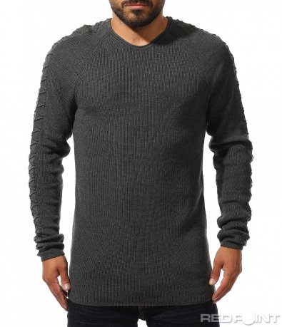 Сив пуловер с релеф 10311